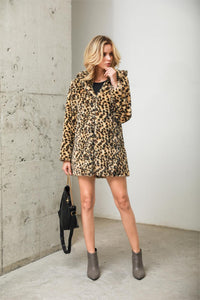 Leopard Fur Winter Overcoat With Hood S - XXXL  - Zaida Fashions