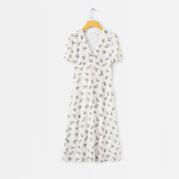 Beige V Neck Summer Floral Short Sleeves Dress S to L