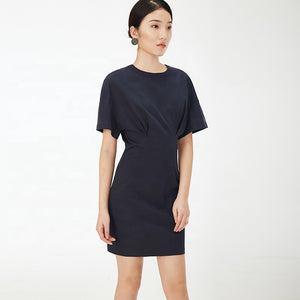 Black Half Sleeve O-neck Bodycon Mini Dress S to L