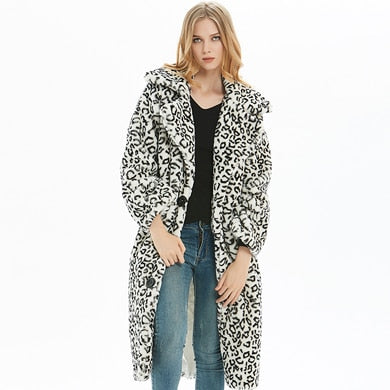 Winter Leopard Print Faux Fur Overcoat S - XXL  - Zaida Fashions