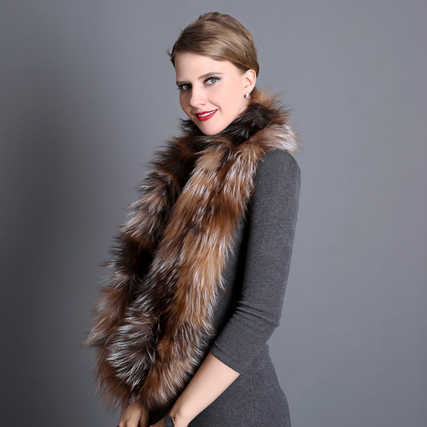 Fox Fur Hand Knitted Winter Scarf  - Zaida Fashions