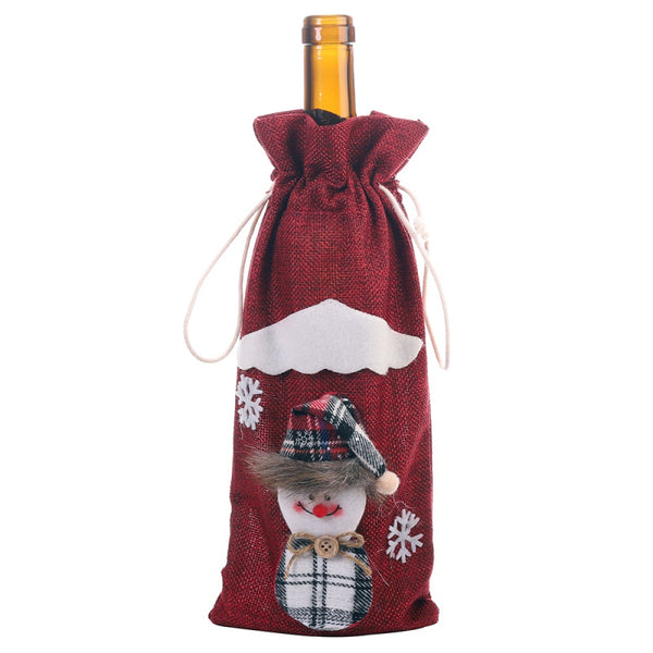 Christmas Drawstring Wine Bottle Cover 30 x 14cm