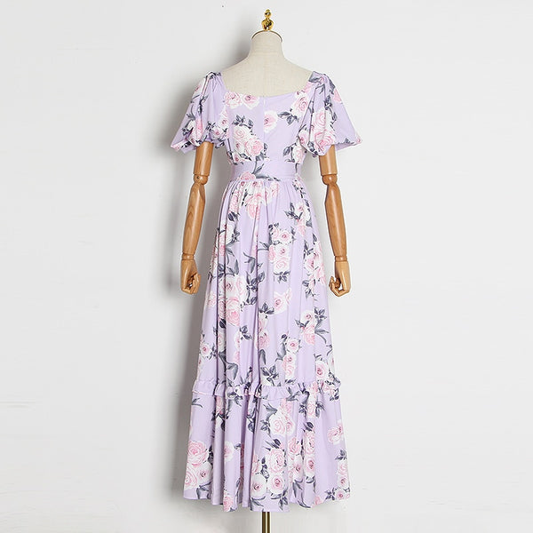 Floral Print Ruffles V Neck Puff Short Sleeves Maxi Dress S to XL