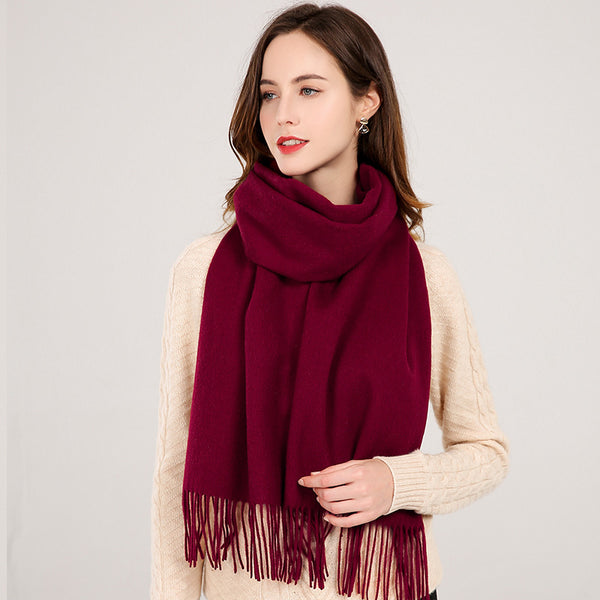 Winter Wool Scarf with Tassel 180X40cm  - Zaida Fashions