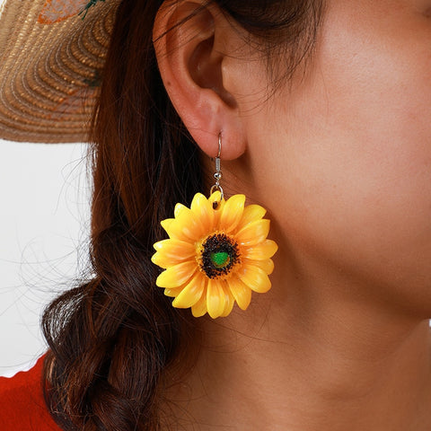 Boho Yellow Sunflower Drop Earrings