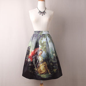 Vintage Retro Style Floral Midi Skirts  (Oil Painting Floral One Size)