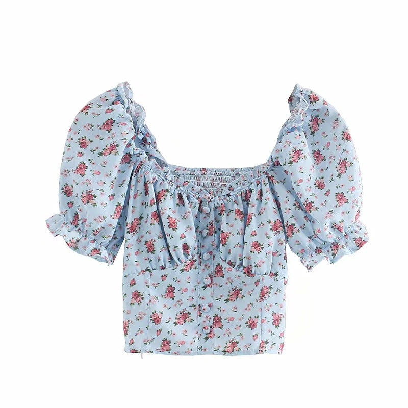 Floral Ruffle Short Sleeve Crop Blouse S to L