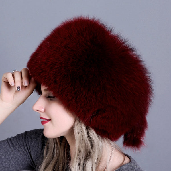 Winter Fox Fur Bomber Hats  - Zaida Fashions
