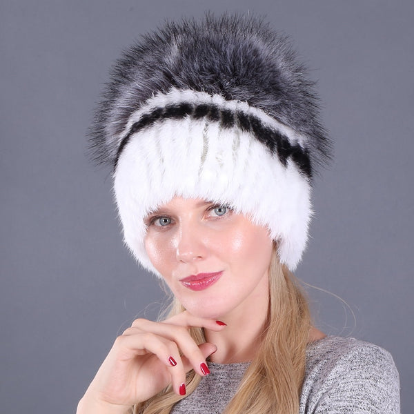 Faux Silver Fox Fur Winter Knitted Caps  - Zaida Fashions