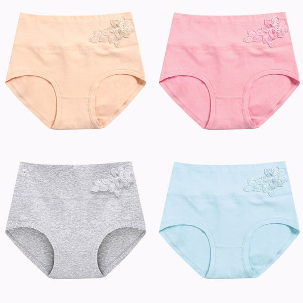 4 Pieces Women High Waist Cotton Underwear Plus Size M to XXL