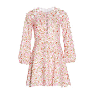 Floral O Neck Lantern Sleeve Mini Dress S to XL