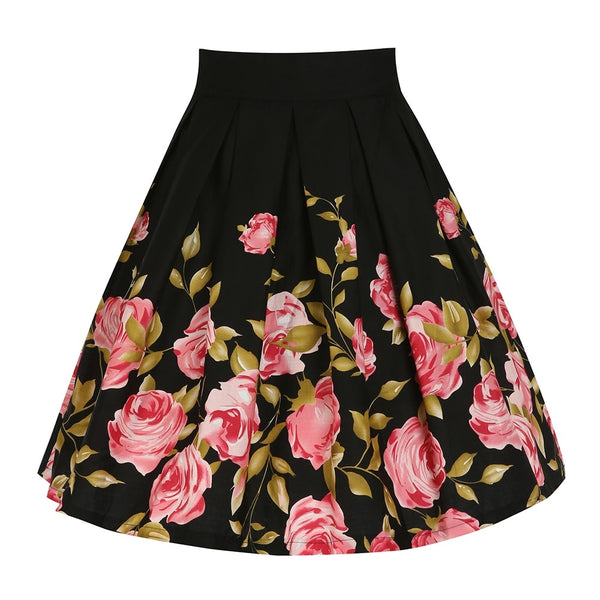 Black Vintage Floral A Line High Waist Pleated Skirts S to XXL