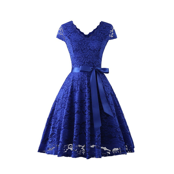 V-Neck Knee-Length Lace Short Sleeve Christmas Party Dress S to XXL