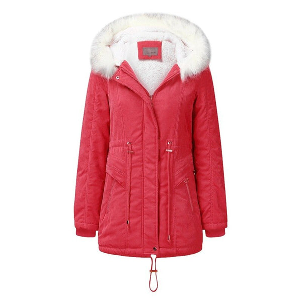 Winter Mid-Length Fur Hooded Thick Warm Red Black Coats M to XXXL