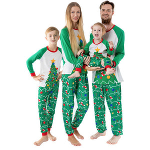 Parent Kids Christmas Matching Green Pajamas Sets