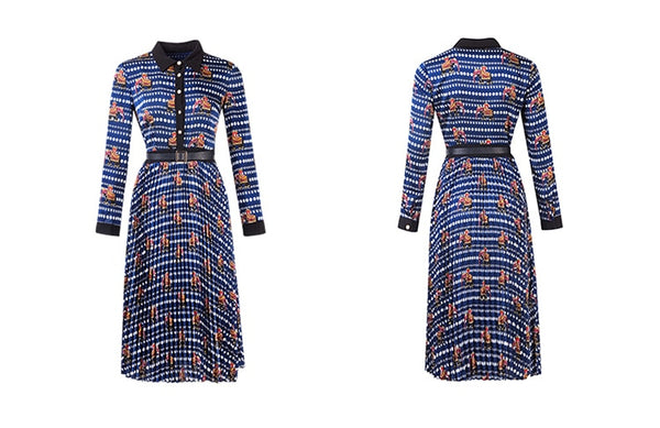 Long Sleeve Geometric Print Pleated Party Dress With Belt S to XL