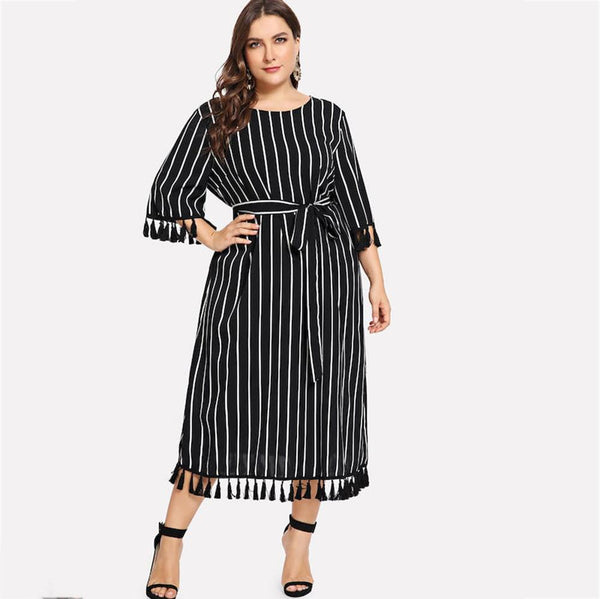 Black Plus Size Striped Office Dress 3XL - 6XL