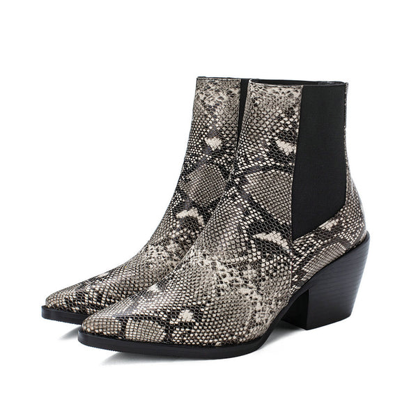 Snakeskin PU Leather High Heel Winter Ankle Boots Size 3 to 12  - Zaida Fashions
