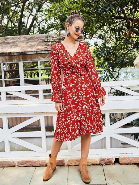 Red V Neck Long Sleeve Floral Ruffles Beach Midi Dress