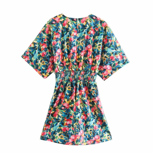 V-Neck Floral Print Short Sleeve Summer Beach Mini Dress XS to L