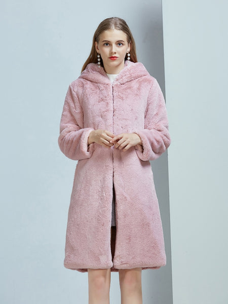 Winter Pink Fur Hooded Long Sleeve Overcoat  - Zaida Fashions