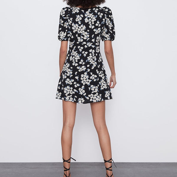 Black Floral V Neck Puff Sleeve Short Sleeve Mini Dress XS to L