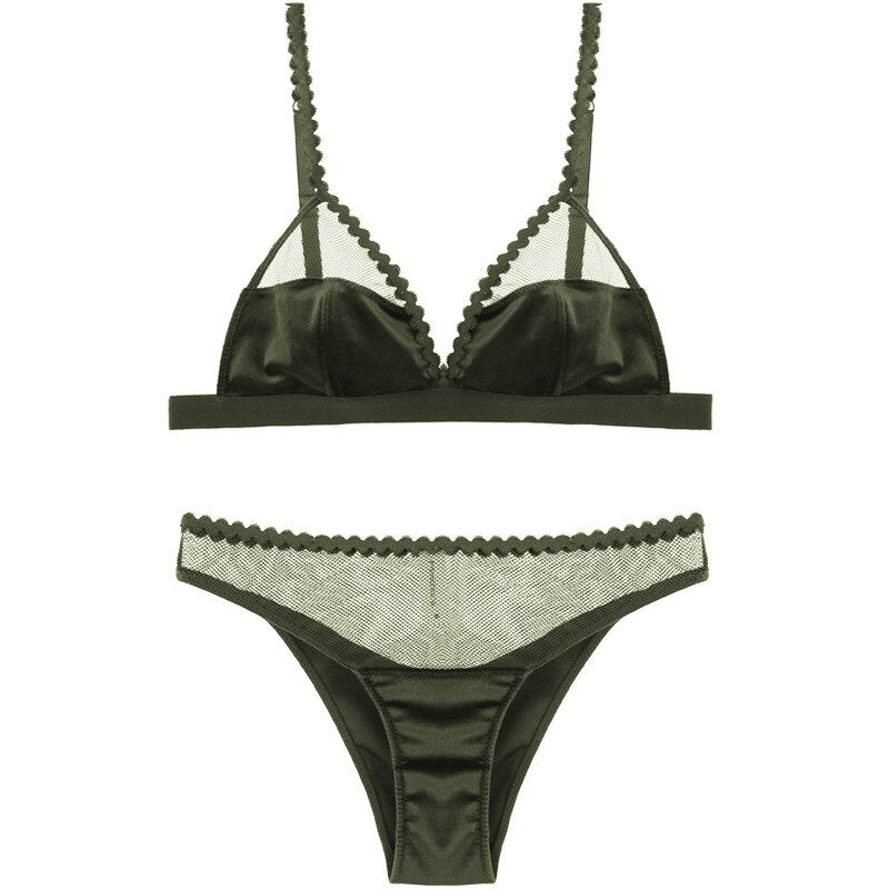 Velvet Triangle Cup Bra Set S to XL