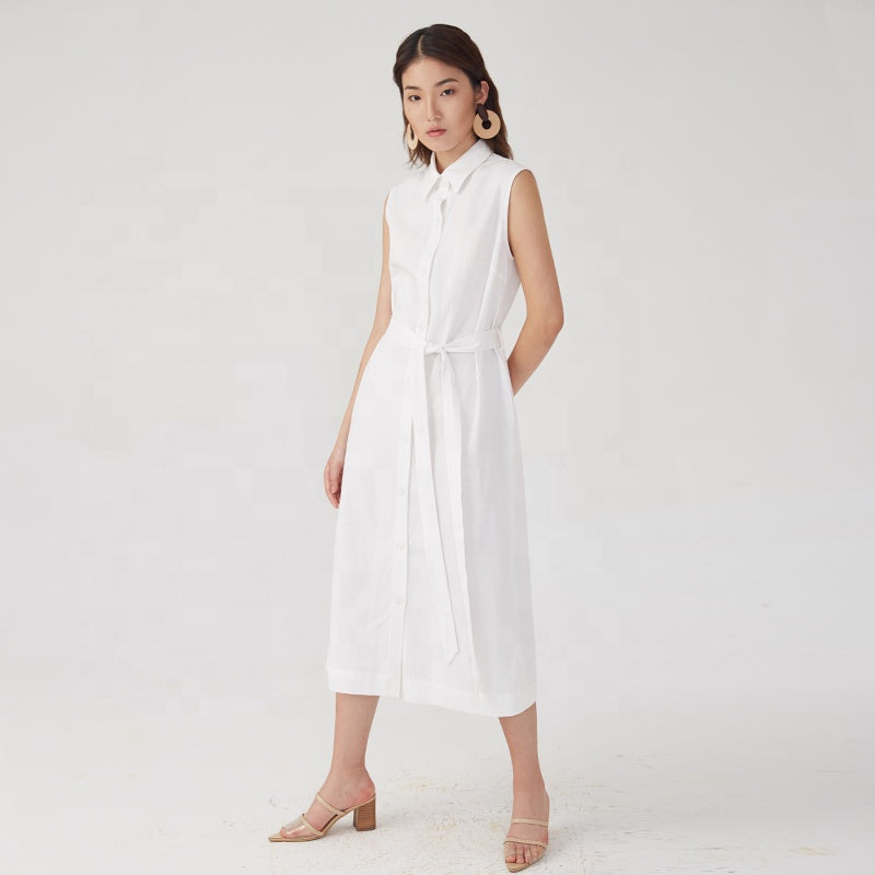 Notched Collar Sleeveless Midi Dress S to L