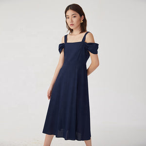 Navy Blue Calf length Strapless Off shoulder Midi Dress S to XL