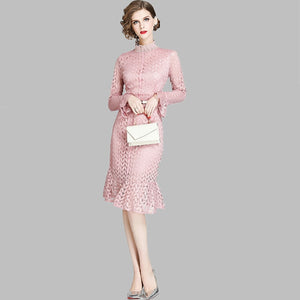 Pink Flare Sleeve Lace Dress S to XXL