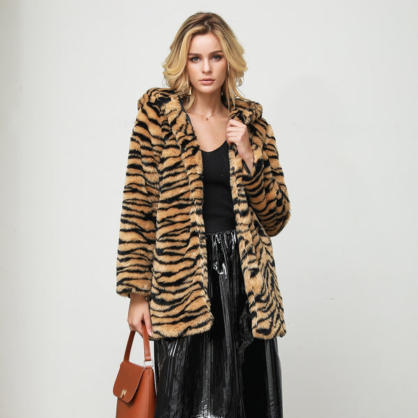 Tiger Pattern Faux Fur Overcoat S - XXXL  - Zaida Fashions