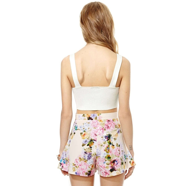 Women Floral Print High Waist Chiffon Shorts  - Zaida Fashions