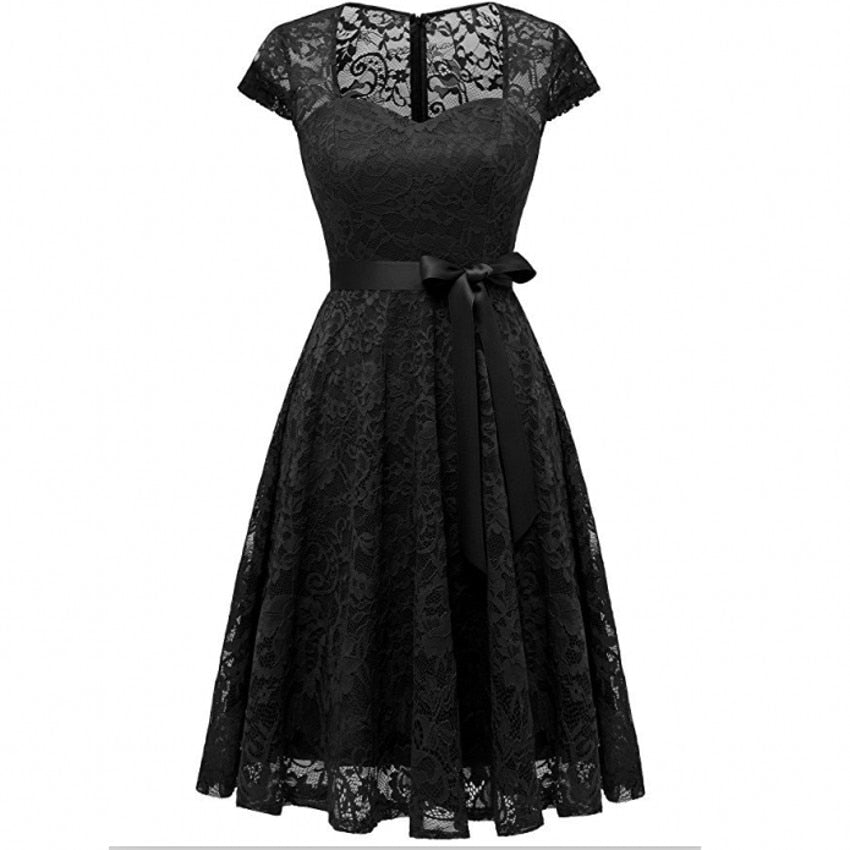 V-neck Black Red Lace Party Dress S to XXL