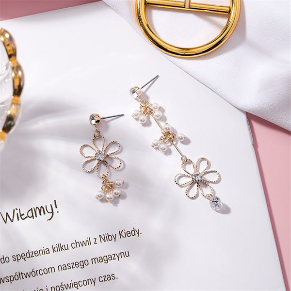 Flower Asymmetry Rhinestone Tassel Drop Earrings  - Zaida Fashions