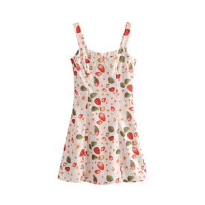 Strawberry Print Summer Mini Dress S - L  - Zaida Fashions