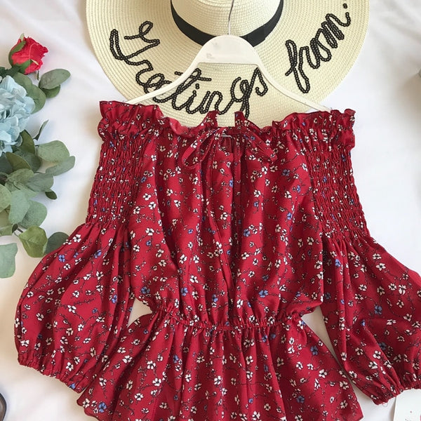 Summer Ruffles Off Shoulder Floral Blouses  - Zaida Fashions