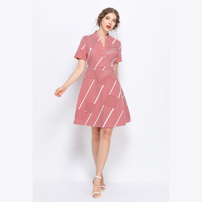 Plus Size Short Sleeve Red Striped Dress L - 5XL  - Zaida Fashions