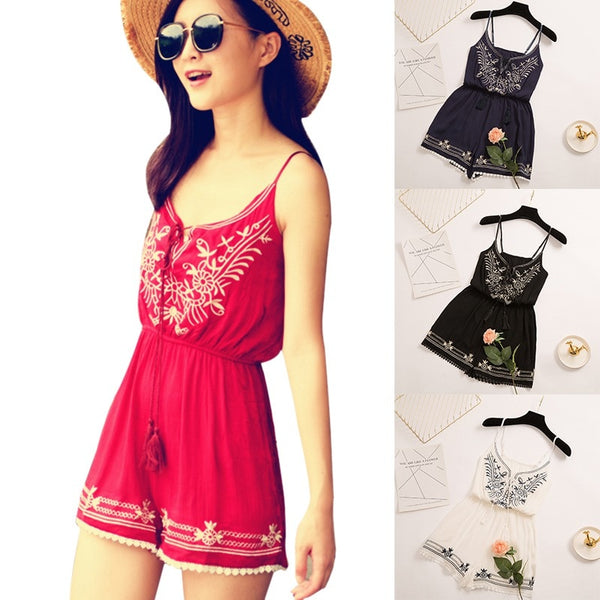 Floral Embroidery Short Playsuits  - Zaida Fashions