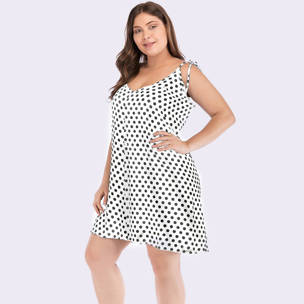 Plus Size Polka Dot Sleeveless Mini Dress  - Zaida Fashions