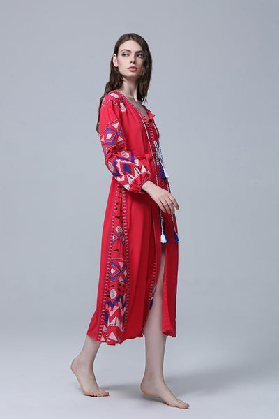 Cotton Floral Embroidered Summer Dress S - XL  - Zaida Fashions