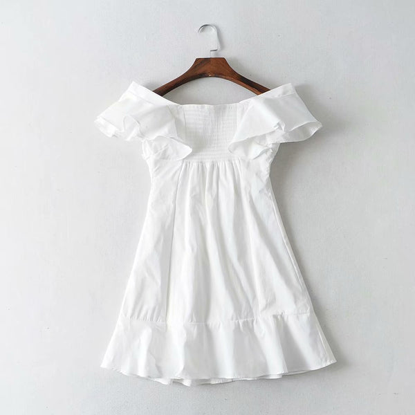 Boho Off Shoulder White Mini Dress S to L