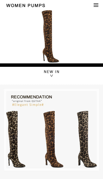 Leopard Print Over The Knee High Heel Winter Boots Size 34 to 43  - Zaida Fashions