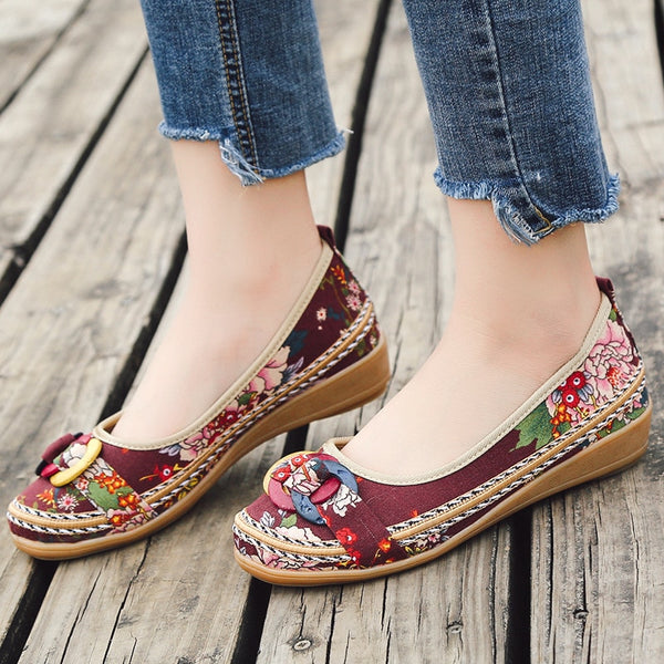 Floral Breathable Canvas Casual Sneakers Shoes 5 to 10