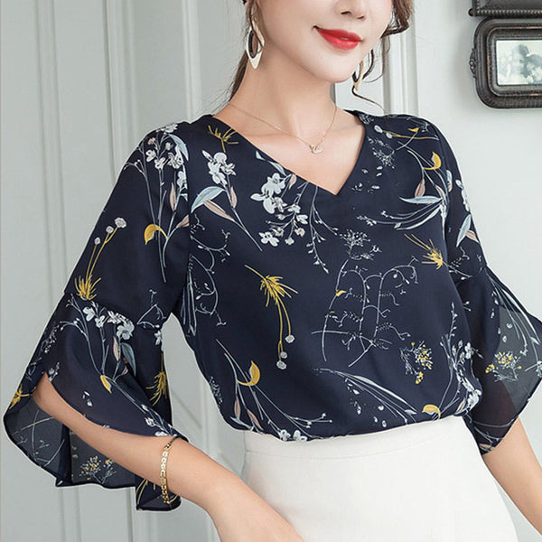 Summer Flower Print Casual Short Flare Sleeve V-Neck Blouses  - Zaida Fashions
