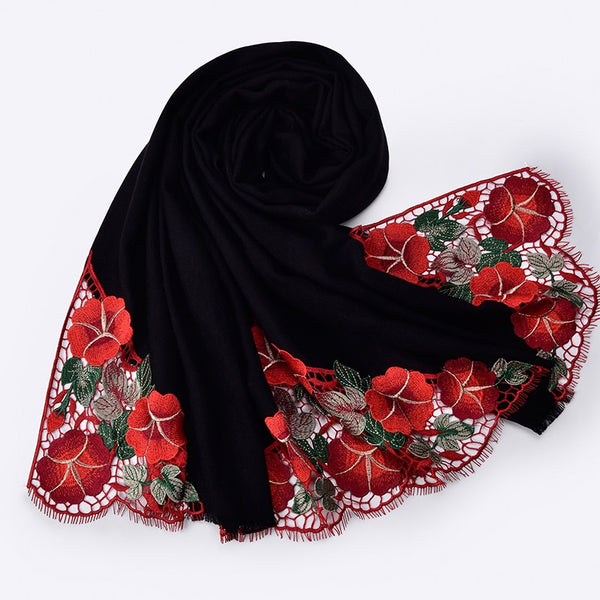 Winter Embroidery Wool Shawls 190x65cm