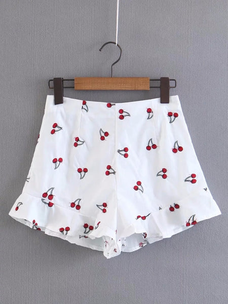 Cherry Embroidery Ruffles Summer White High Waist Shorts  - Zaida Fashions