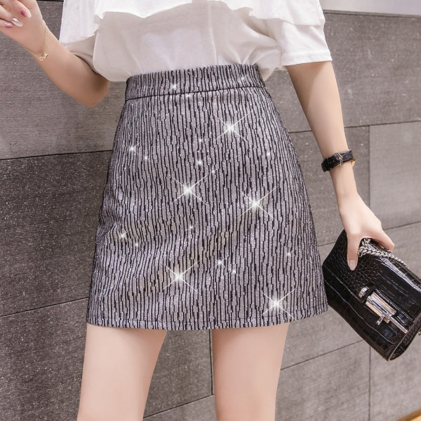 High Waist Sequined A-line Mini Skirts S - XL  - Zaida Fashions