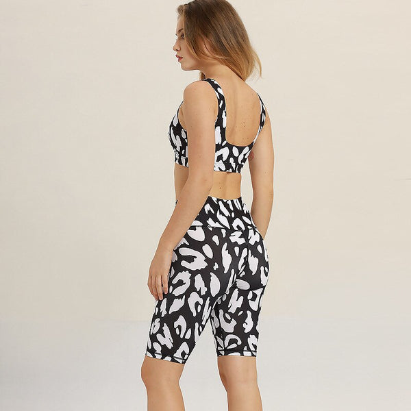 Black And White Knee Length Sports Suit  S - L  - Zaida Fashions