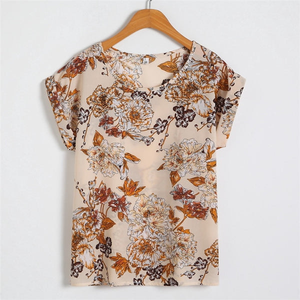 Floral Chiffon Print O Neck Short Sleeve Summer Casual Blouse M to 4XL  - Zaida Fashions