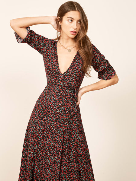 Floral Wrap Ruffles Half Sleeve Midi Dress  - Zaida Fashions